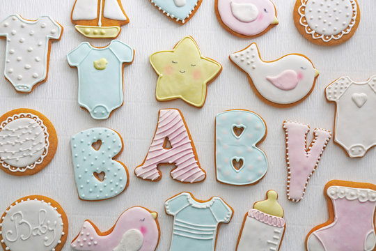 Baby shower cookies on table