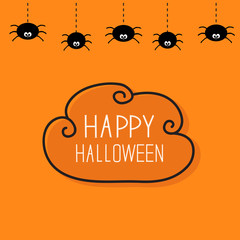 Hanging black spiders on dash line web. Contour cloud frame. Happy Halloween card. Cute cartoon baby character set. Flat material design. Orange background.
