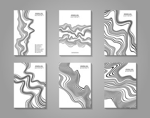 Monochrome flyer set with abstract waves.