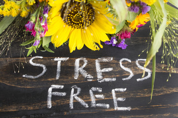 Words Stress Free with Summer Flowers on a Rustic Wooden Backgro