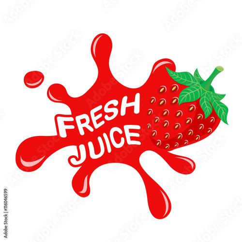 quotlogo of fresh juice fresh strawberry juice vector
