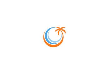 palm tree tropic beach icon logo