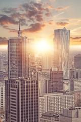 Obraz Widok na wieżowce w Warszawie - fototapety do salonu