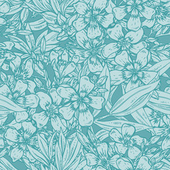 Vector seamless pattern with hand drawn rhododendron flowers