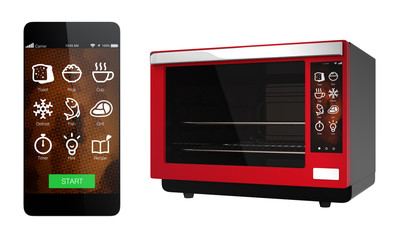 Red electric oven and smart phone isolated on white background. Using smart phone app could link to the oven. 3D rendering image with clipping path.