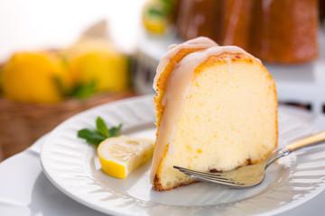 One light slice of bundt cake fresh organic natural ingredients sweet treat
