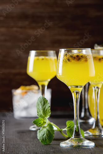 "Alcoholic cocktail fresh passion fruit with mint and ice."" Stock ..."