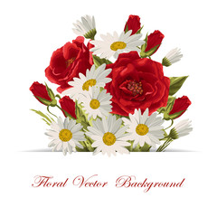 Beautiful white daisies and red roses