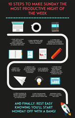 Progress chart how to make sunday the most productive day of the week. Vector infographic illustration