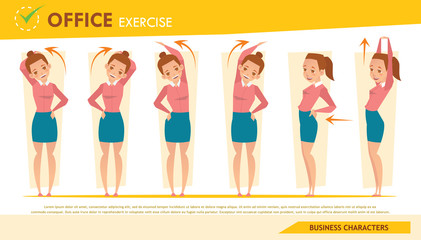 girl office syndrome infographic and stretching exercise set 2