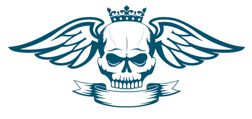 Vector monochrome tattoo or logo with skull, wings, crown and ribbon. Isolated on white background. Design for air force, biker or MMA fighter print.