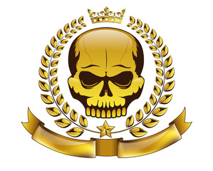 Vector golden tattoo or logo with skull, crown, laurel wreath and ribbon. Isolated MMA emblem on white background. Design for t-shirt print.