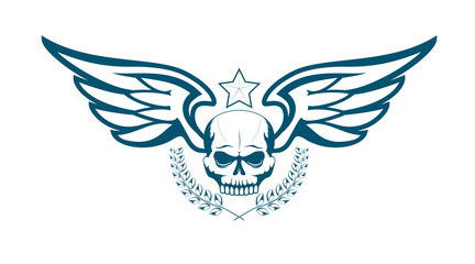Vector monochrome tattoo or logo with skull, wings, laurel wreath and star. Isolated on white background. Design for air force, biker or MMA fighter print.