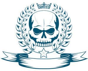 Vector monochrome tattoo or logo with skull, crown, laurel wreath and ribbon. Isolated MMA emblem on white background. Design for t-shirt print.