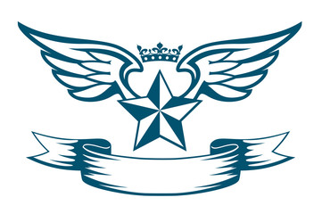 Vector monochrome tattoo or logo with star, wings, crown and ribbon. Isolated on white background. Design for air force, biker or army print.