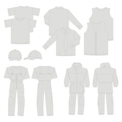 Collection of men work clothes