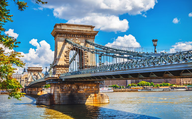 Photo sur Toile Budapest Chain bridge in budapest