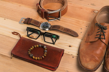 Men's accessories, shoes, belt, glasses, wallet, watch