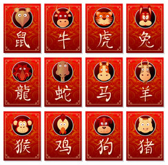Chinese zodiac signs with calligraphy hieroglyphs