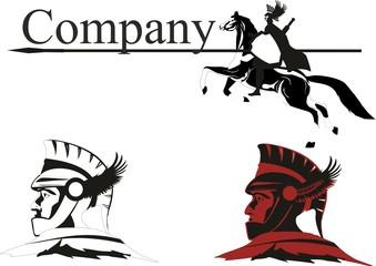 Ancient greece warriors logo design vector illustration
