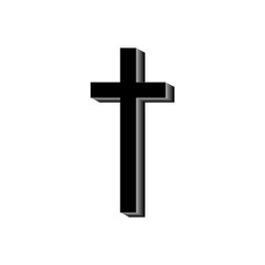 The black cross on a white background