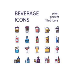 Filled outline icons set of DRINKS & BEVERAGES pictogram symbol collection