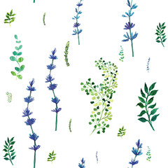 Watercolor seamless pattern with herbs and leaves.