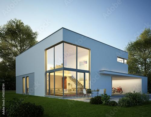 einfach modernes wohnzimmer am abend - moderne villa 5 am abend stockfotos und lizenzfreie