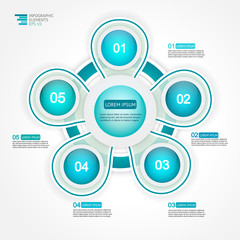 5 step options cycle process diagram. Infographic template for reports, plans,presentation,web. Vector Illustration.