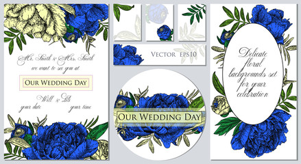 Set of templates for celebration, wedding. Vector illustration of flowers. Backgrounds with beautiful blue peonies.