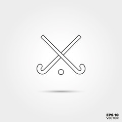 Crossed Hockey sticks and ball Line Icon