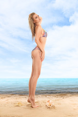 Woman in a swimsuit at beach