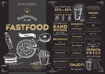 Restaurant fast food cafe menu template flyer vintage design vector illustration