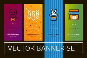Vector set of banners with bright colour images of home, icon of rabbit, linear tie with trendy linear minimalistic graphics.