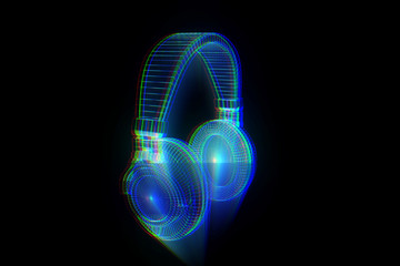 3D Headphone in Wireframe Hologram Style. Nice 3D Rendering