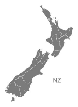 New Zealand Map with states grey