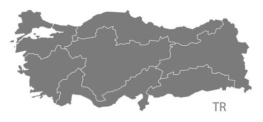 Turkey Map with regions grey