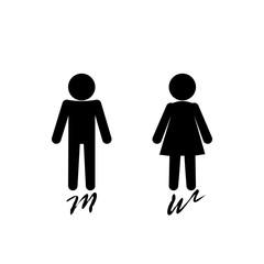 Fototapeta Man and woman sign logo on pink background. obraz