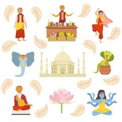 Yoga, Taj Mahal And Other Indian Cultural Symbol Drawings