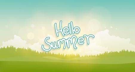 Hello Summer Lettering. Vector Summer Landscape, illustration.