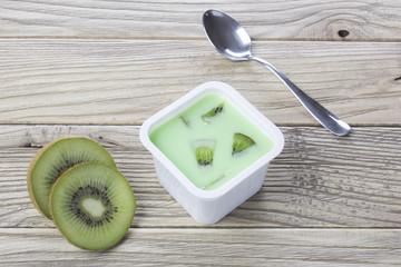 kiwi yogurt in plastic box