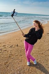 woman selfie at sea