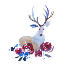 Deer head with a bouquet of flowers. Watercolor illustration.