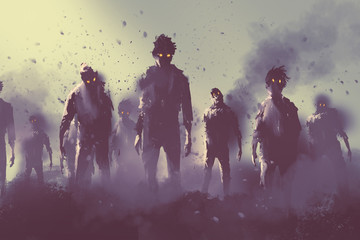 zombie crowd walking at night,halloween concept,illustration painting Wall mural