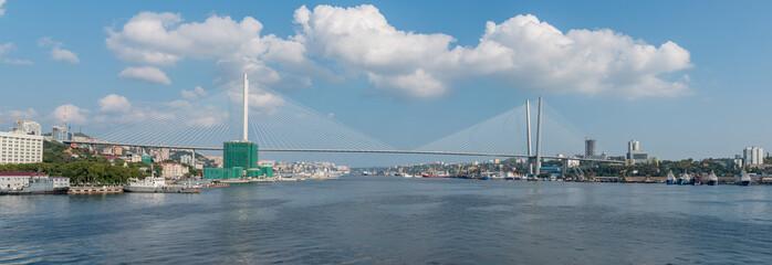 """Cable stayed bridge """"The Zolotoy Bridge"""" in Vladivostok. Panorama."""