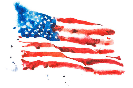 Flag of America, hand drawn watercolor illustration.