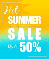 Hot Summer Sale with sun over triangular background