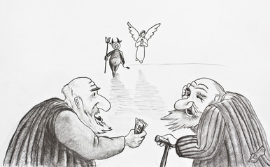 Pencil drawing. Two old people rely on the devil or angel
