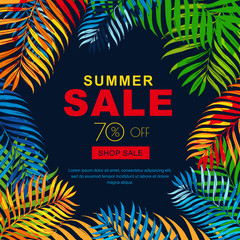 Summer sale banners with multicolor coconut palm leaves. Vector tropical posterblack  background. Layout for discount labels, flyers and shopping.