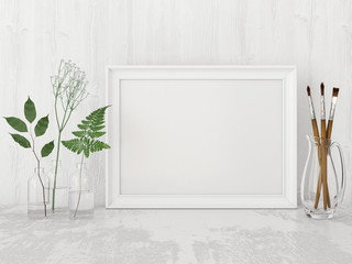 Horizontal interior poster mock up with empty frame, artistic brushes and plants in bottles on white wall background. 3D rendering.